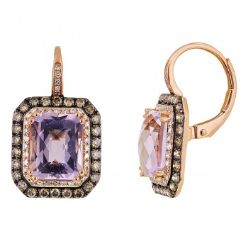 Dabakarov Cush Pink Amethyst Earrings in 14kt Rose Gold with Diamonds (3/4ct tw)
