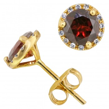 Dabakarov Garnet and Diamond Halo Earrings in 14kt White Gold (1/10ct tw)