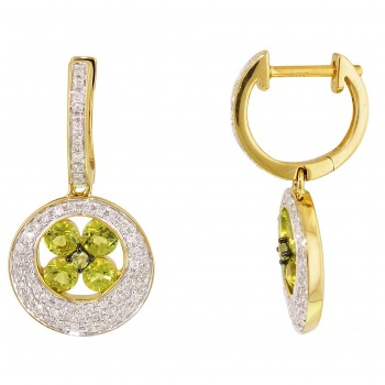 Dabakarov Peridot Earrings in 14kt Yellow Gold with Diamonds (1/4ct tw)