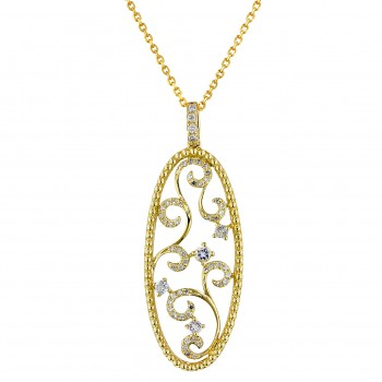 Dabakarov Oval White Quartz Necklace in 14kt Yellow Gold with Diamonds (1/7ct tw)