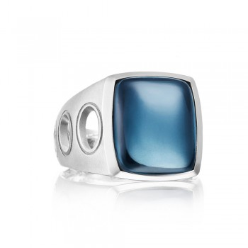 Vented Gemstone Ring featuring London Blue Topaz over Hematite