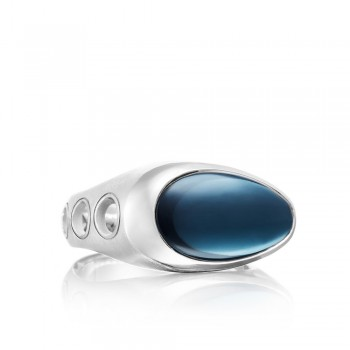 Vented Ring featuring London Blue Topaz over Hematite