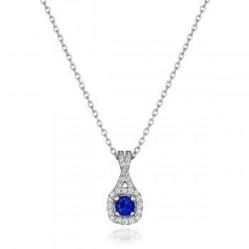 Truly Enamored Sapphire and Diamond Criss Cross Pendant