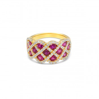 You And Me Ruby and Diamond Interweaving Ring