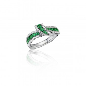 Wrap Me Up Emerald and Diamond Twist Ring