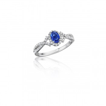 Swirls of Love Sapphire and Diamond Twist Ring