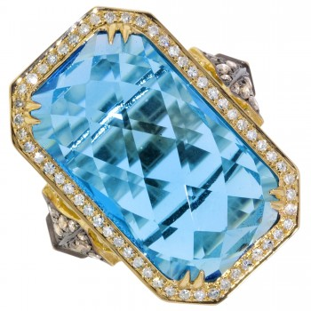 Dabakarov Blue Topaz Ring with White and Champagne Diamonds (1/2ct tw)