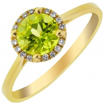 Dabakarov Peridot and Diamond Halo Ring in 14kt Yellow Gold (1/20ct tw)