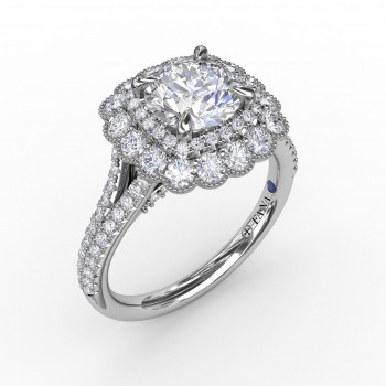 Vintage Cushion-Shaped Double Halo Engagement Ring With Split Shank