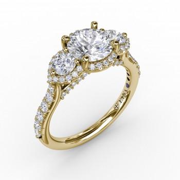 Three-Stone Round Diamond Halo Engagement Ring