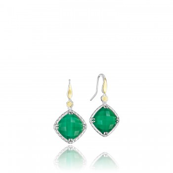 Solitaire Gem Drop Earrings featuring Clear Quartz over Green Onyx