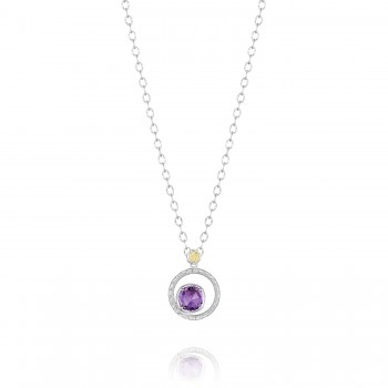 Silver Bloom Necklace featuring Amethyst