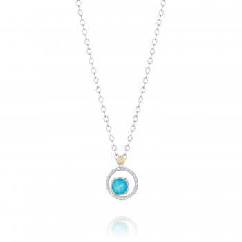 Silver Bloom Necklace featuring Neo-Turquoise