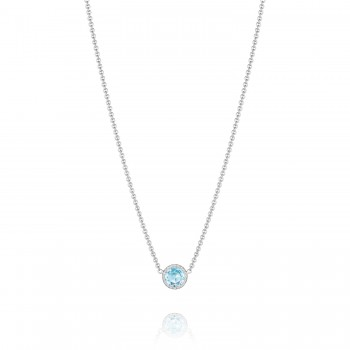 Petite Floating Bezel Necklace featuring Sky Blue Topaz
