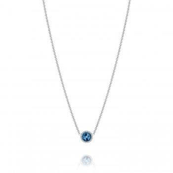 Petite Floating Bezel Necklace featuring London Blue Topaz