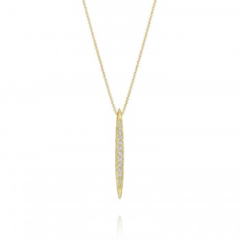 Pavé Surfboard Pendant in Yellow Gold