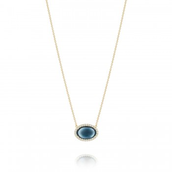 Oval Cabochon Necklace featuring Sky Blue Topaz over Hematite