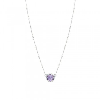 Station Link Necklace featuring Amethyst