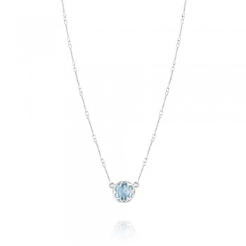 Station Link Necklace featuring Sky Blue Topaz