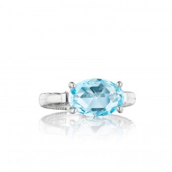 East-West Oval Ring featuring Sky Blue Topaz