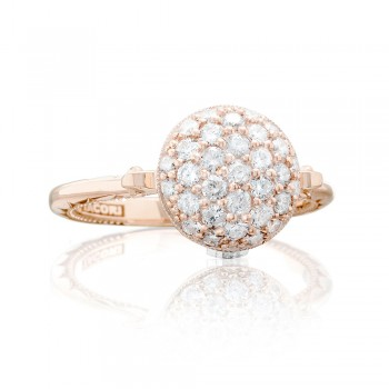 Pavé Dew Drop Ring in Rose Gold with Diamonds