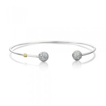 Sonoma Mist    Silver Wire Dew Drop Cuff featuring Pave Diamonds