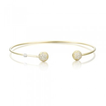 Gold Wire Dew Drop Cuff featuring Pave Diamonds