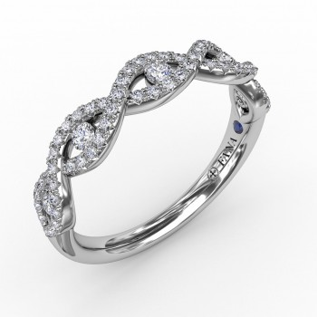 Twisted Diamond Band with Channel Set Diamonds