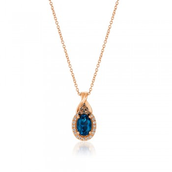 Le Vian 14K Strawberry Gold® Deep Sea Blue Topaz Pendant WJBO 43