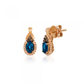 Le Vian 14K Strawberry Gold® Deep Sea Blue Topaz Earring WJBO 44